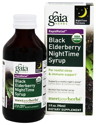 Gaia Herbs - Rapid Relief Immune Support Black Elderberry NightTime Syrup - 3 oz.
