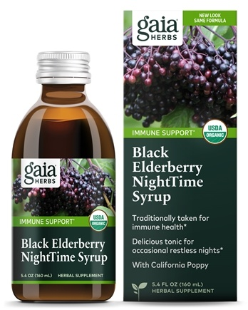 Gaia Herbs - Rapid Relief Immune Support Black Elderberry NightTime Syrup - 5.4 oz.