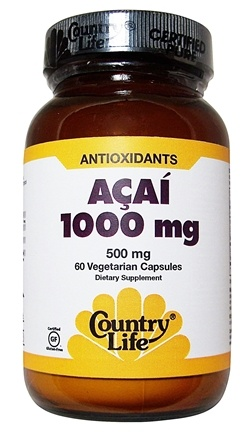 DROPPED: Country Life - Acai 1000 mg. - 60 Vegetarian Capsules CLEARANCE PRICED