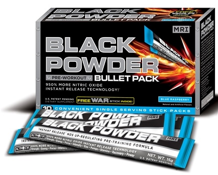 DROPPED: MRI: Medical Research Institute - Black Powder Pre Workout Bullet Pack Blue Raspberry - 10 Pack(s)