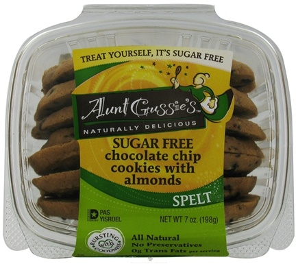 DROPPED: Aunt Gussie's - Spelt Cookies Sugar Free Chocolate Chip With Almonds - 7 oz.
