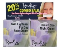 Reviva Labs - Skin Lightener For Day Fade Cream & Brown Spot Night Cream with Kojic Acid - 2 x 1.5 oz. Combo Pack