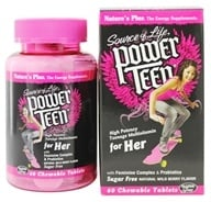 Image of Nature's Plus - Source Of Life Power Teen For Her High Potency Multivitamin Natural Wild Berry Flavor - 60 Chewable Tablets