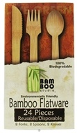 Bamboo Studio - Bamboo Dinnerware Flatware Forks Spoons & Knives Reusable Disposable - 24 Piece(s)