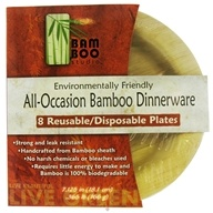 "Bamboo Studio - Bamboo Dinnerware Round Plate Reusable Disposable 7.125"" - 8 Pack"