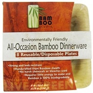 "Bamboo Studio - Bamboo Dinnerware Square Plate Reusable Disposable 8"" - 8 Pack"