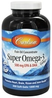 Carlson Labs - Norwegian Super Omega-3 Gems Fish Oil Concentrate 1000 mg. - 300 Softgels