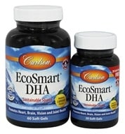 Carlson Labs - Norwegian EcoSmart DHA Lemon Flavored 500 mg. - Bonus Pack 60 + 20 Softgels Formerly CalaDHA from Calamari 1000 mg. (088395018145)