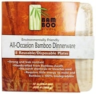 "Bamboo Studio - Bamboo Dinnerware Square Plate Reusable Disposable 10"" - 8 Pack (745768920220)"