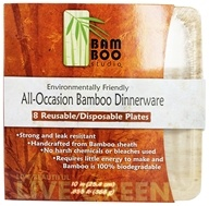"Bamboo Studio - Bamboo Dinnerware Square Plate Reusable Disposable 10"" - 8 Pack"