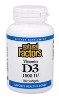Natural Factors - Vitamin D3 1000 IU - 180 Softgels, from category: Vitamins & Minerals
