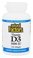 Image of Natural Factors - Vitamin D3 5000 IU - 120 Softgels