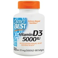 Doctor's Best - Best Vitamin D3 5000 IU - 180 Softgels - $6.29