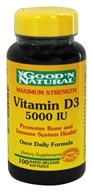 Good 'N Natural - Vitamin D3 Maximum Strength Once Daily Formula 5000 IU - 100 Softgels (698138193772)