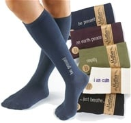 Image of Maggie's Organics - Socks Knee Hi Mantra Just Breathe Size 9-11 Black - 1 Pair
