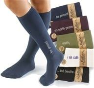 Image of Maggie's Organics - Socks Knee Hi Mantra I Am Calm Size 9-11 Natural - 1 Pair