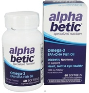 Enzymatic Therapy - Alpha Betic Diabetic Nutrition Omega-3 EPA+DHA Fish Oil - 60 Softgels Formerly by NatureWorks by Enzymatic Therapy