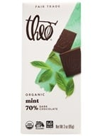 Theo Chocolate - Classic Collection Organic Dark Chocolate 70% Cacao Mint - 3 oz. (874492000684)