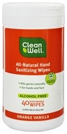 CleanWell - All-Natural Hand Sanitizing Wipes Orange Vanilla - 40 Wipe(s)