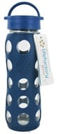 Lifefactory - Glass Beverage Bottle With Silicone Sleeve Midnight Blue - 22 oz.