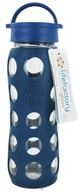 Lifefactory - Glass Beverage Bottle With Silicone Sleeve Midnight Blue - 22 ...