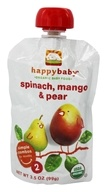 HappyBaby - Organic Baby Food Stage 2 Meals Ages 6+ Months Spinach, Mango, & Pear - 3.5 oz. (852697001392)