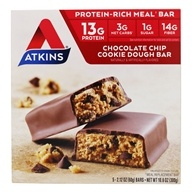 Image of Atkins Nutritionals Inc. - Advantage Meal Bar Chocolate Chip Cookie Dough - 5 Bars