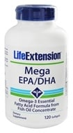 Life Extension - Mega EPA/DHA Omega-3 Essential Fatty Acid Formula From Fish Oil Concentrate - 120 Softgels (737870625124)