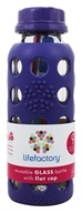 Image of Lifefactory - Glass Beverage Bottle With Silicone Sleeve Royal Purple - 9 oz.