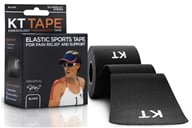 KT Tape - Kinesiology Therapeutic Elastic Athletic Tape Pre-Cut Strips Black - 20 Strip(s) by KT Tape