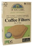 If You Care - Coffee Filters #4 Size Cone Style Unbleached Totally Chlorine-Free (TCF) - 100 Filter(s), from category: Housewares & Cleaning Aids