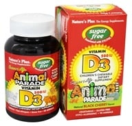 Nature's Plus - Source Of Life Animal Parade Vitamin D3 Children's Chewable Natural Black Cherry Flavor 500 IU - 90 Chewable Tablets (097467299238)