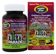 Image of Nature's Plus - Source Of Life Animal Parade Children's Multi-Vitamin and Mineral Assorted Cherry, Orange & Grape - 90 Chewable Tablets