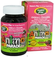 Nature's Plus - Source Of Life Animal Parade Children's Multi-Vitamin and Mineral Natural Watermelon Flavor - 90 Chewable Tablets