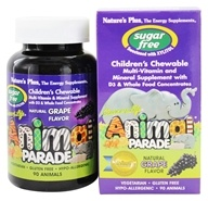 Image of Nature's Plus - Source Of Life Animal Parade Children's Multi-Vitamin and Mineral Natural Grape Flavor - 90 Chewable Tablets