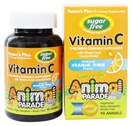 Nature's Plus - Source Of Life Animal Parade Children's Vitamin C Chewable Sugar-Free Natural Orange Juice Flavor - 90 Chewable Tablets (097467299221)