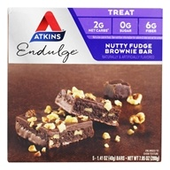 Atkins Nutritionals Inc. - Endulge Bar Nutty Fudge Brownie - 5 Bars (637480075428)