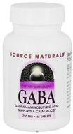 Source Naturals - GABA Gamma-Aminobutyric Acid 750 mg. - 45 Tablets