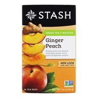 Stash Tea - Premium Ginger Peach Green Tea with Matcha - 18 Tea Bags (077652083651)