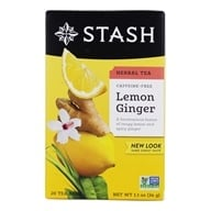 Stash Tea - Premium Caffeine Free Herbal Tea Lemon Ginger - 20 Tea Bags (077652082494)