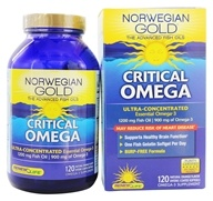 Remplacez la vie - Norwegian Gold Ultimate Fish Oils Ultra-Concentrated Omega-3 Critical Omega Natural Orange Flavor 1200 mg. - 120 Poissons Softgel