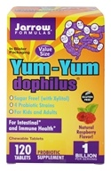 Image of Jarrow Formulas - Yum-Yum Dophilus Sugar Free Raspberry - 120 Chewable Tablets