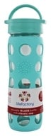 Image of Lifefactory - Glass Beverage Bottle With Silicone Sleeve Turquoise - 16 oz.