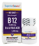 Superior Source - No Shot B12 Cyanocobalamin Instant Dissolve Micro-Tablets 10000 mcg. - 60 Tablets by Superior Source