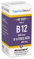 Superior Source - No Shot Triple B12 3,000 mcg, B6 & Folic Acid Instant Dissolve Micro-Tablets - 60 Tablets (076635910304)