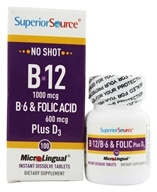 Superior Source - No Shot B12, B6, Folic Acid Plus D3 Instant Dissolve Micro-Tablets - 100 Tablets - $14.24