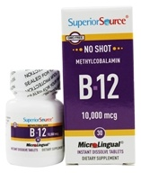 Superior Source - No Shot B12 Methylcobalamin Instant Dissolve 10000 mcg. - 30 Tablets by Superior Source