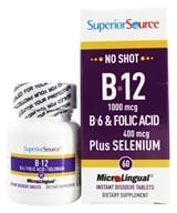 Superior Source - No Shot B12, B6, Folic Acid & Selenium Instant Dissolve Micro-Tablets - 60 Tablets - $11.02