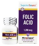Superior Source - Folic Acid Instant Dissolve 1200 mcg. - 100 Tablets by Superior Source