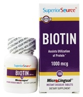 Superior Source - Biotin Instant Dissolve 1000 mcg. - 100 Tablets - $5.24